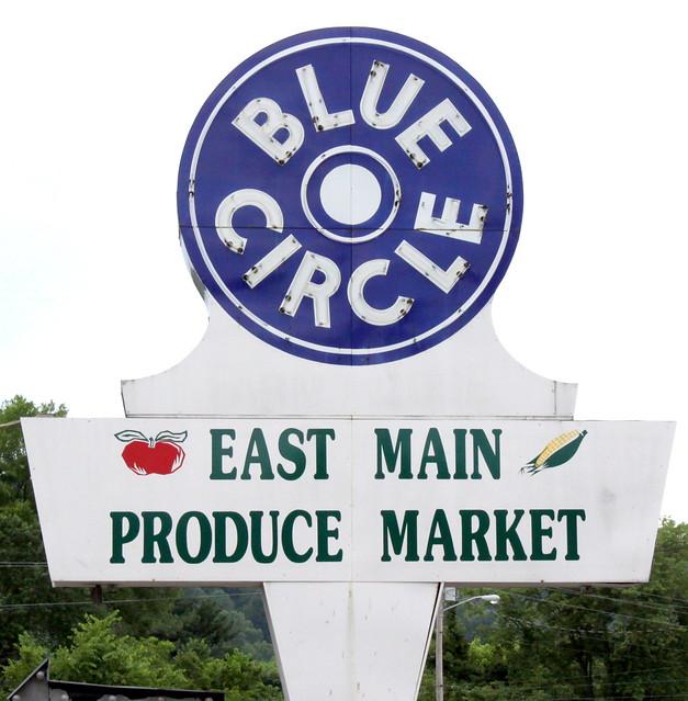 Blue Circle neon sign - Livingston, TN