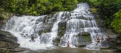 Rock Hopping the falls at Lake Jocassee