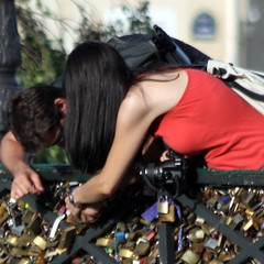 Love is Forever ~ The Lock ~ Paris ~ MjYj (MjYj) Tags: city blue light sunset summer urban woman sun paris sexy art love beauty fashion silhouette dark gold hit couple pretty solitude photographer magic forum creative photojournalism documentary dancer things pop yeux amour memory record romantic paparazzi eden feeling past blanc reflets pleasure tendre encounters espoir img4541 freelancers mjyj mjyj