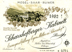 Scharzhofberger 1982 (Saar) (roger4336) Tags: river germany deutschland 1982 wine label mller muller mosel wein saar rheinlandpfalz moselle etikett wiltingen scharzhofberger egonmller scharzhof scharzhofberg