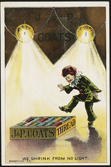 J & P. Coats thread, we shrink from no light. [front] (Boston Public Library) Tags: thread cotton clowns advertisingcards