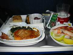 Salmon (elnina999) Tags: travel food coffee dinner fly salad tour tea drink plastic business tray bun liner prepared airlinefood specialorder