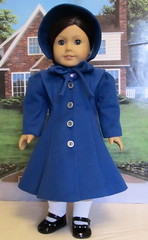 Royal Blue Brushed Wool Coat with Bonnet (Keepersdollyduds) Tags: wool emily doll coat 1940 molly clothes 1940s bonnet 1944 keepers americangirldoll keepersdollyduds