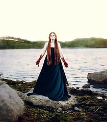 full of hope and promise (sparkbearer) Tags: sunset red lake seaweed green water rock photography hope moss blood twilight rocks calm velvet pale promise puddingstonelake sparkbearer brenizermethod chelseaknight