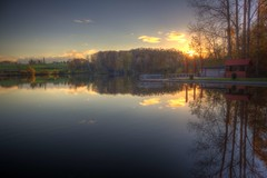 Beautiful Autumn (blavandmaster) Tags: park november blue parque autumn trees sunset sky sun lake cold colour reflection tree green nature water beautiful yellow clouds automne reflections river germany season landscape atardecer deutschland evening soleil cou
