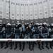 Riot police guarding an entrance