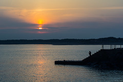 After work Fishing (eric_hevesy) Tags: ocean camera travel sunset lighthouse color heritage tourism nature water clouds canon landscape island pier photo google interesting rocks asia natural top favorites getty southkorea popular jeju baidu jejudo naver daum     60d erichevesy