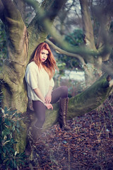 tree Fairy (49mm) Tags: trees winter light red woman cold tree fall nature water girl beautiful beauty canon hair nice eyes woods nikon warm soft pretty sitting moody natural forrest skin wind coat flash 85mm calm fairy strong ember leafs fairytail