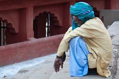 Thinking  / EXPLORE (Dick Verton ( more than 13.000.000 visitors )) Tags: travel blue people india man asia sitting explore sit varanasi seated dickverton