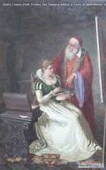 Giulio Cesare Prati Tiziano che insegna pittura a irene di spilimbergo olio su tela 1893 collezione privata