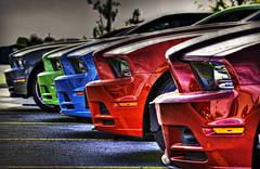 Pretty Maids All In A Row (Paul B0udreau) Tags: blue red ontario canada green cars ford car metal nikon automobile pov gimp samsung niagara master layer headlight stcatharines mustang windshield hypothetical ribbet photomatix nikkor1855mm hdrfromsingleshot d5100 samsungmaster trolledproud trollieexcellence magiktroll paulboudreauphotography nikond5100
