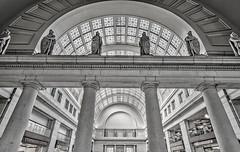 Union Station Statues (Janet Murrill) Tags: travel architecture zeiss washingtondc dc nikon statues starbucks trainstation transportation unionstation zeiss15mm zf2 distagont2815 nikond800e
