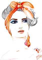 Hipocrisia (Jaque Sampin) Tags: illustration mulher desenhos ilustrao copic fashionvictim 2014 nanquim ilustraes vegetarianos ilustras hidrocor hipocrisia jaquelinesampin fakevegan mundohipcrita
