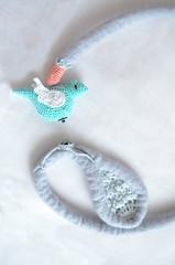 little bird (PratinArt) Tags: mirsini pratinart pratina pastel gray necklace freeform felt spring bird crochet fiber art abstract yarn sky blue salmon white cotton sculpture contemporary jewelry