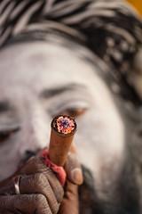 During Kumbh Mela pilgrimage 2013, Allahabad, India (David Ducoin) Tags: old portrait india hat beard asia god smoke pipe smoking drug bead shiva pilgrimage pilgrim sadhu hashish mela ganja allahabad kumbhmela kumbh 2013 chilom chillom charass