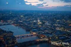London - View from the Shard (Rolandito.) Tags: uk england london night observation point twilight britain dusk united great platform kingdom deck gb vista shard nightfall vantage