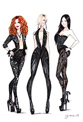 Charlie's Angels (G-nuinart) Tags: girls hot sexy art fashion illustration de 1 lucy liu artwork dress arte angeles drawing inspired drew icon charlie fanart angels cameron designs chicas dibujo diaz ilustracin charlies 2014 diseos redhaired darkhaired