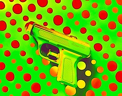 Loaded Shot (Ba®ky) Tags: orange colour colors japan weird gun pattern space religion jesus fake kitsch wacky cartoonish barky 芸術 سكس wowiekazowie iphoneography ba®ky barkyvision