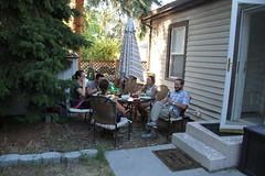 Adults eating (Aggiewelshes) Tags: birthday scott backyard july lisa victor kelley 2015 jalila