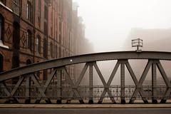 Hamburg Speicherstadt (elfringymke) Tags: bridge mist fog germany hamburg canals warehouse speicherstadt