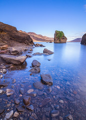 Kleifarvatn (Sylvayre) Tags: travel blue lake reflection water colors beautiful iceland rocks long exposure calm kleifarvatn
