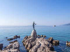 Maiden with the Seagull (zsonemes) Tags: travel blue sea summer sculpture seascape travelling art tourism water girl weather statue pen lite boat seaside rocks europe mediterranean riviera ship seagull young croatia sunny olympus traveller promenade coastline seafront amateur lungomare maiden opatija adriatic adria hungarian zd kvarner epl5