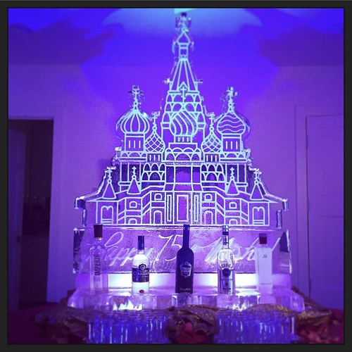 St. Basil's Cathedral #icesculpture #vodka display for #misha's 75th #birthday #fullspectrumice #motherrussia #austin #thinkoutsidetheblocks #brrriliant - Full Spectrum Ice Sculpture