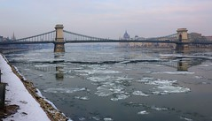The reflection of the Hungarian Parliament on drifting ice (Majorimi) Tags: canon eos 70d digital color colorful nice hungary budapest danube cold ice gray winter bridge river water reflection chain chainbridge hdr parliament architecture