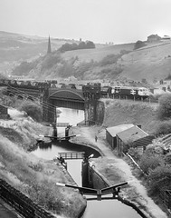 Coal & Canal. (Neil Harvey 156) Tags: railway 56110 gauxholmeviaduct gauxholme todmorden caldervalley coaltrain mgr haa class56 brlargelogo grid monochrome