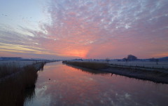 Cool colours (brittajohansson) Tags: sunrise dawn winter february water waterscape landscape clouds pink colours early birds polder netherlands