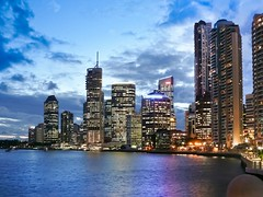 Brisbane skyline illuminated at dusk with dramatic sky (Sir Francis Canker Photography ) Tags: new trip travel viaje bridge sunset panorama tourism beautiful rio skyline skyscraper river landscape puente nice pod scenery cityscape view shot dusk farm gorgeous awesome fiume great picture australia landmark visit icon brisbane tourist best ponte most scenary qld queensland vista australien aussie visiting ever turismo visita australie bradfield  brucke visitar       sirfranciscankerjones    pacocabezalopez