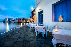 Mykonos - Candlelight Dinner in Little Venice (Yen Baet) Tags: city trip travel sunset vacation seascape beach water coast seaside twilight europe european waterfront view dusk hill scenic windmills icon tourists greece coastline seafront iconic chora cyclades mykonos littlevenice cycladic waterscape spectacle aegeansea mykonoswindmills mikrivenetia yenbaet katomilli