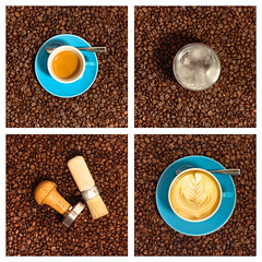 Four part coffee art (On the mountain at dawn) Tags: blue art geometric coffee collage square beans cups espresso format latte barista