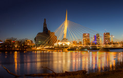 Winnipeg.  It's in Canada (Jair65) Tags: bridge canada skyline night evening spring winnipeg manitoba humanrightsmuseum