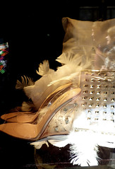 Bergdorf Goodman 3 Feathery Displays (catchesthelight) Tags: nyc bw newyork window shoes manhattan feathers departmentstore displays newyorknewyork 5thave bergdorfgoodman thefirstfamilyoffashion