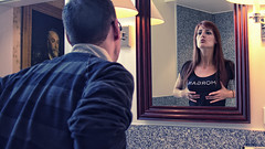 Mirror reflection (Boris Untereiner) Tags: portrait man reflection girl composite photomanipulation photoshop fun bathroom mirror funny manipulation