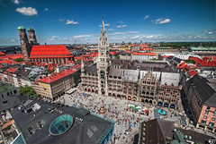 above the roofs of munich (pictob) Tags: blue red sky panorama cloud building skyline architecture munich mnchen nikon cathedral wideangle townhall sight frauenkirche hdr mari