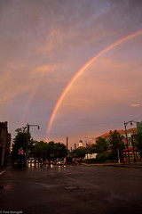 Double Rainbow (petemonge) Tags: sunset rain boston corner train rainbow harvard coolidge mbta brookline beacon