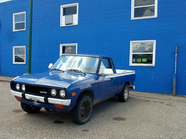 blue classic truck pickup 70s datsun 720