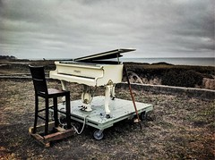 sunsetpiano 2  (iPhone) (David Pasillas) Tags: ocean california art beach clouds landscape piano overcast halfmoonbay hdr highdynamicrange iphone niksoftware truehdr sunsetpiano iphoneography snapseed simplyhdr