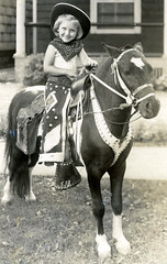 The Little Cowgirl (Maia C) Tags: family blackandwhite bw me girl child pony scanned comment maiac