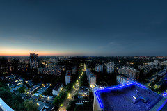 blue lights (erikvonotto) Tags: city sky urban panorama berlin rooftop skyline architecture night germany landscape lights nikon darkness cloudy lounge wideangle fisheye 8mm ghetto walimex dri hdr manfrotto dunkelheit d90 2013