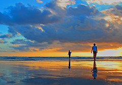Father to son (Joe.Rock) Tags: sunset cloud reflection beach day fav50 cloudy father son fav20 moment fav30 fav10 fav40 fav60 fav80 fav70 diamondclassphotographer flickrdiamond