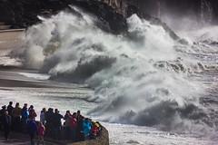 Wave watching (snowyturner) Tags: sea beach wall waves cliffs spray foam breakers swell onlookers porthleven