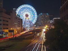 Yokohama (DigiPub) Tags: road motion japan horizontal night outdoors neon sold district tunnel nopeople explore land editorial ferriswheel glowing yokohama onsale minatomirai making 横浜 gettyimages humaninterest lighttrail 橫濱 luminosity blurredmotion traveldestinations colorimage famousplace 横滨 modeoftransport yokohamalandmarktower kanagawaprefecture builtstructure m20150227 542017801 o20150311 sale201604