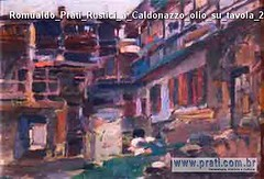 Romualdo Prati Rustici a Caldonazzo olio su tavola 24x36cm Collezione privata