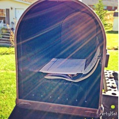 Mail is the highlight of my day. Sad. I used to have a life. (Arty_Kat) Tags: mailbox square squareformat lensflare iphoneography instagramapp