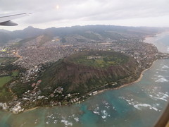 Arriving back in Honolulu (im me) Tags: ocean water clouds plane landscape volcano hawaii flying wing wave aerial pacificocean crater diamondhead honolulu