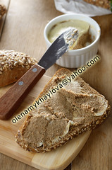 Liver paste sandwich (Olena Mykhaylova) Tags: food white green kitchen closeup out bread table lunch wooden healthy cut burger paste board knife tasty nobody sandwich fresh meat eat butter snack jar carbohydrate diet liver bun pate bruschetta catering nutrition