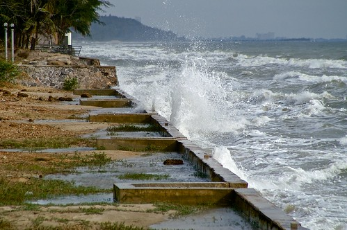 SPLASH - Waves hitting the waterfront near The Haven hotel in Hua Hin, Thailand